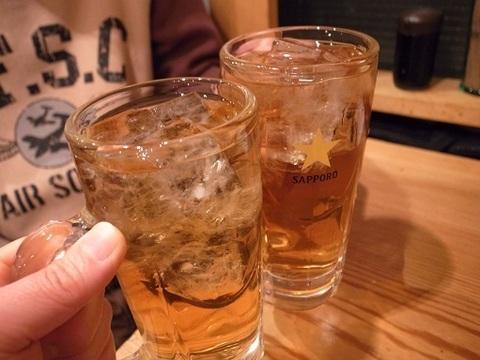 ひげ茶ハイで乾杯.JPG