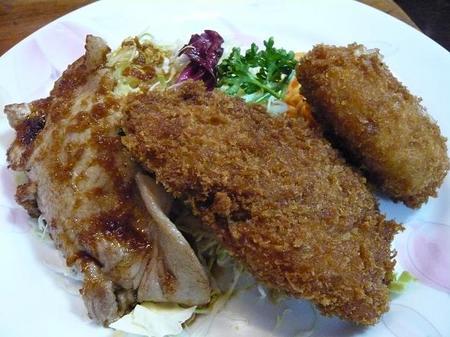 生姜焼きと魚フライとクリームコロッケ.jpg